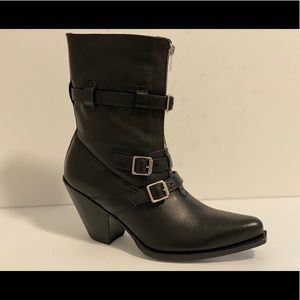 CELINE BERLIN TRIPLE BUCKLE BLACK LEATHER BOOT